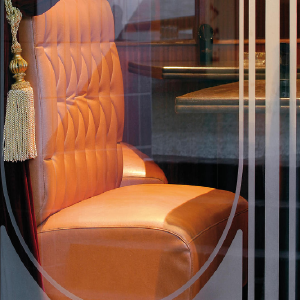 Frosted Glass Vinyl - Oracal 8810-brown leather chair behind glass