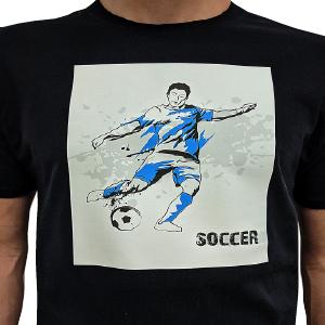 Printable Heat Transfer Sheets-t-shirt showing boy kicking soccer ball